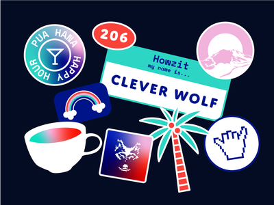 Clever Wolf Seattle seattle hawaii stickers icon illustration vector design logo branding adobe illustrator brand identity