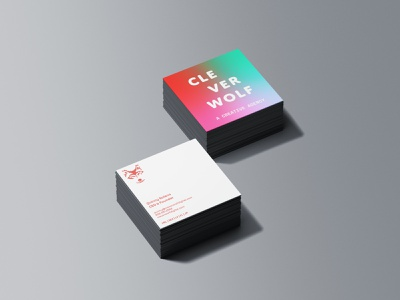 Clever Wolf Business Cards identity design business card typography mockup design logo adobe illustrator branding brand identity