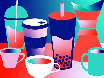 Coffee for Days latte boba chemex espresso coffee conceptual illustration vector design brand identity adobe illustrator branding