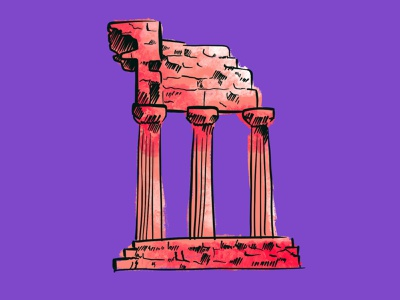 Roman Ruins drawing ipad conceptual design brand identity branding procreate illustration
