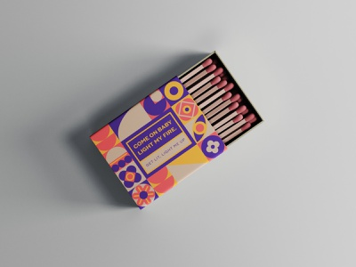 Light Up Matchbox matches geometic pattern packaging mockup vector design conceptual adobe illustrator brand identity branding