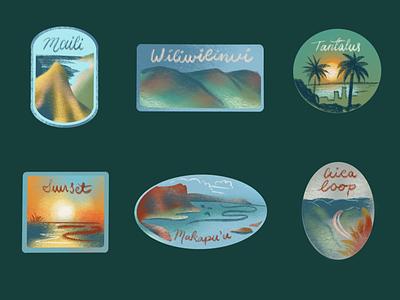 Oahu Stickers hawaiian beach hike ipad pro procreate oahu hawaii custom type typography illustration design conceptual brand identity branding