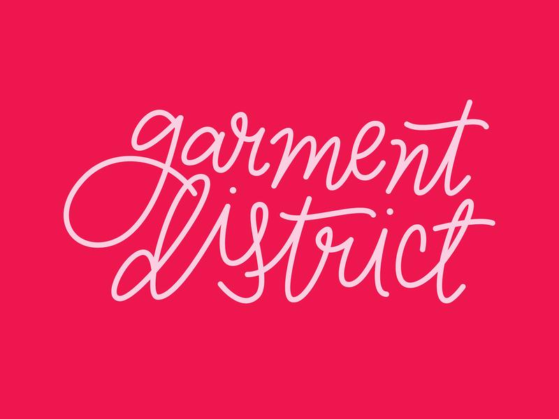 Garment District Logo conceptual branding adobe illustrator monoline custom type script vector brand identity logo
