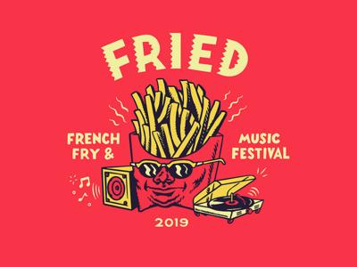 Fried Festival branding typography vector design illustration