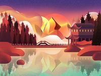 扁平插画-风景插画