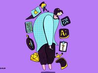 #y园糖插画打卡21天#day4-工作