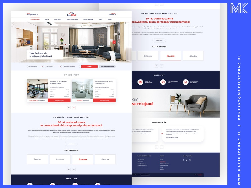 Biuro Nieruchomości / Web Design typography ux homepage uidesign mariuszkunc design web layout ui webdesign