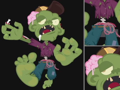 Zommbee zombie vector character illustration undead brains rotten corpse reanimated walker