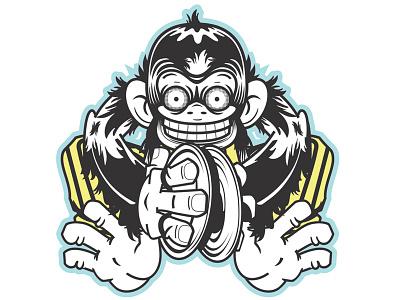 Mad Cymbal Monkey cymbal music monkey percussion mad simian toy mechanical evil chimp instrument supernatural iconic vintage retro creepy strange fun kid illustration logo vector