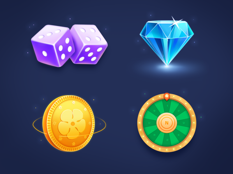 Game Icon game icon shine green blue gold purple turntable coin dice