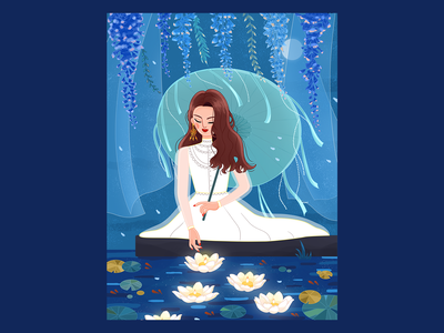Lovesickness evening breeze moonlight girls souvenir pool petal umbrella night girl graphic  design illustration