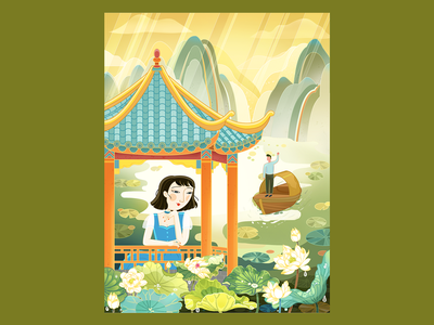 Meet  unexpectedly wave hand meet by chance sunshine boat with a dark awning short hair water cloud lotus lake boat mountains man girl chinese style graphic  design illustration