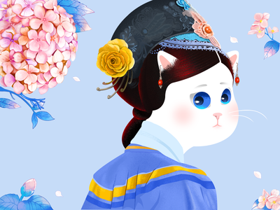 Empress miaou clothing harem woman qing dynasty palace earrings cat drawing hydrangea headwear empress queen flower cute cat graphic  design illustration