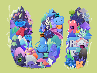 UI star ui tree house stars crystal mountain mushrooms pop culture leaf tree stone monster ae pr ai ps graphic  design illustration