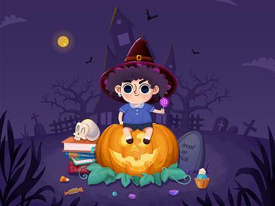 Happy halloween bat villa cakes mooncake purple tombstone noisy point pumpkin halloween bash treat or trick witch hat boy trees moon house candy skull books graphic  design illustration