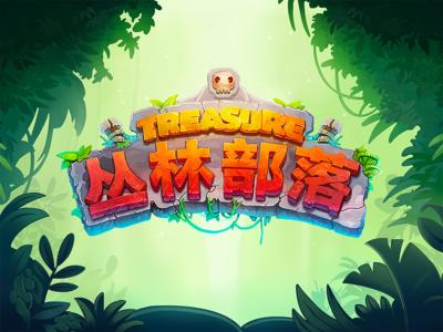 The Jungle Tribe cirrus game ui light leaf skull orange green wood treasure word tribe jubgle logo ui illustration