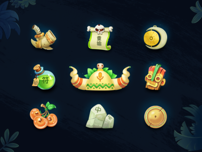 The Jungle Tribe-icon skull and crossbones wood metal sacrifice human face image totem beast leaf chief of a tribe liquid medicine stone kiwi fruit file skull dagger cg game icon illustration ui