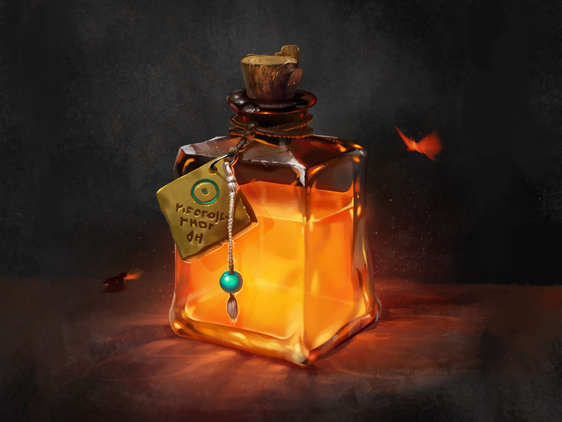 Magic bottle-1 moth rope wood orange bead fire flame game ui character witchcraft metal liquid medicine light bottle cg ui icon illustration