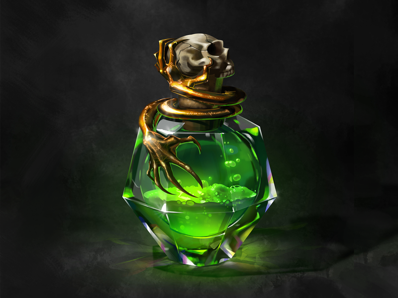 Magic bottle-3 character metal game ui witchcraft liquid medicine magic green skull hand bottle cg icon illustration