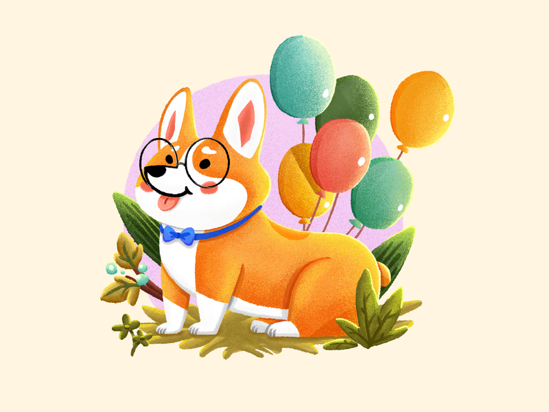 Adorable Puppy1 corgi graphic  design leaf grass flower tie glasses balloon pet dog cute illustration