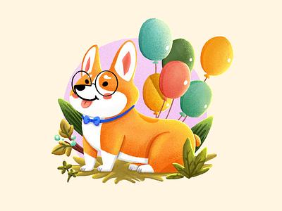 Adorable Puppy1 corgi graphic  design leaf grass flower tie glasses balloon pet dog cute illustration