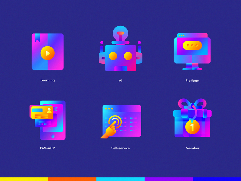 MD Icon vedio book pmi-acp id-card hand roboto pc mac phone gift member self-service learning platform ai learning ui icon graphic  design illustration