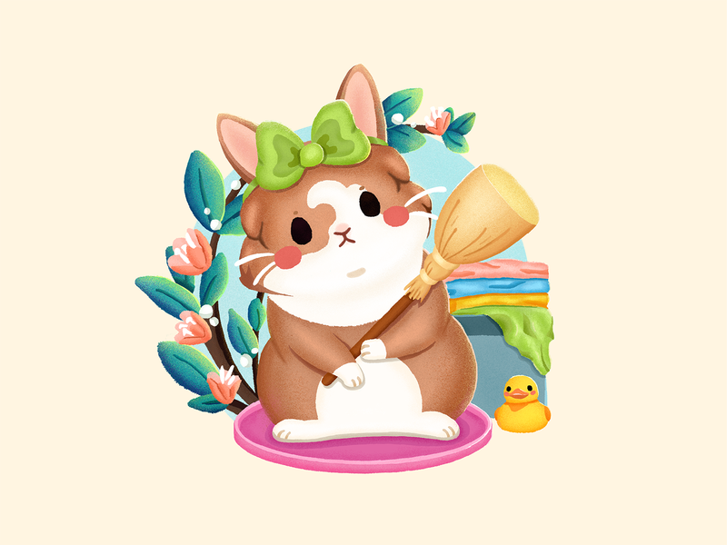 Adorable Puppy2 animal cute laundry basket clothes bunny tray rubber duck servant girl housemaid besom bowknot rabbit leaf graphic  design illustration
