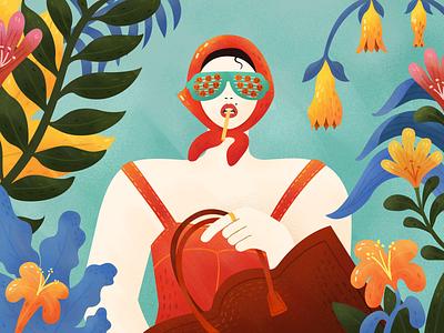 Vintage Girl vintage plant retro style cigarette swimsuit bag scarf girl vector flower graphic  design illustration