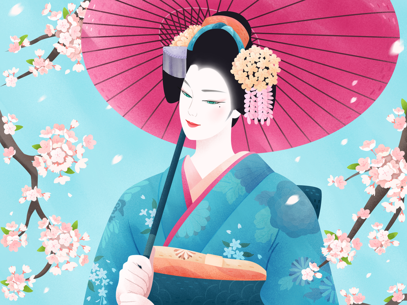 Geisha Girl japanese japan geisha girl cherry blossoms kimono tassels hair ornament bun leaf flower graphic  design illustration