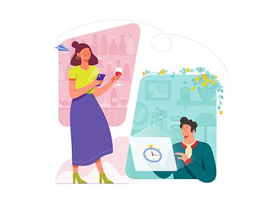Sending Email cooperation outdoor indoor paper plane screen email phones clock boy girl wine bar house flower graphic  design illustration