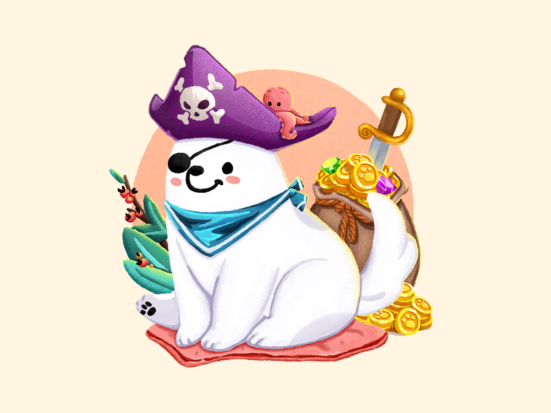 Adorable Puppy 3 cushion diamonds patch scarf pirate hat octopus plants pet dog puppy samoye treasure coin the sword pirate graphic  design illustration