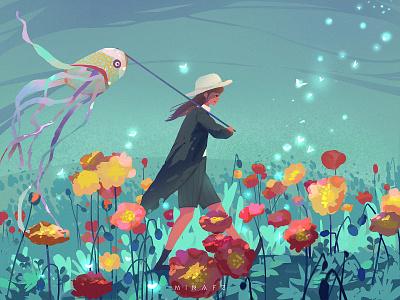 kite blue dream flat art illustration flowers girl kite