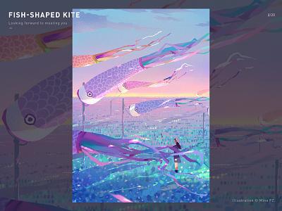 Fish-shaped kite girl fish kite blue dream art illustration
