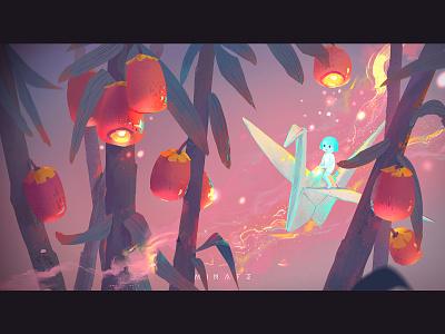Thousand Paper Cranes star tree dream illustration art