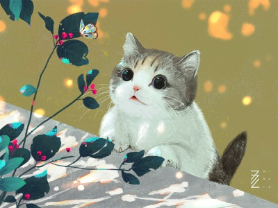 cat butterfly illustration cats cat