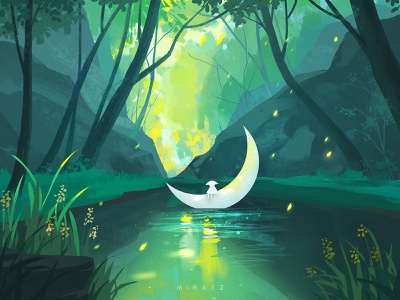Dream journey moon green tree scenery art illustration