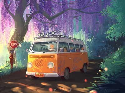 Dream Bus sunlight paradise warm green tree dream illustration bus