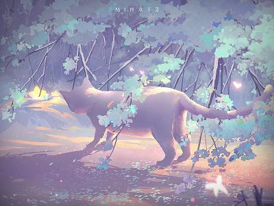 Snow tree scenery dream illustration art