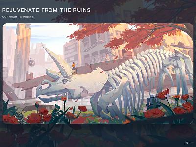 废墟回春 city green scenery illustration art