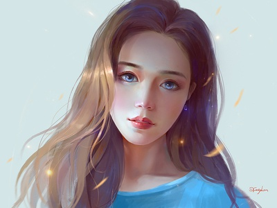 Girl illustrations personage blue girl art cg