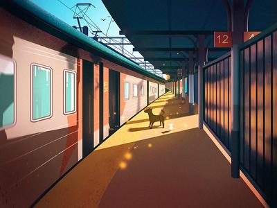 Train Station Illustration ui web project train station illustrated queble design illustration flat dream scenery illustrations art