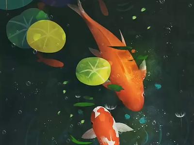 Koi green water fish dream art koi