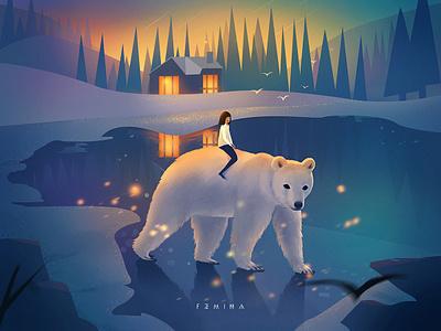 Night light bear girl scenery night dream flat illustration