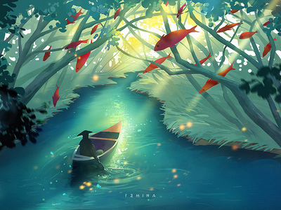 Jungle Adventures forest sunlight jungle green illustration adventure lake tree fish boat