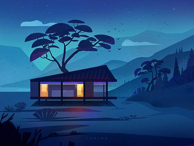 Night sky town night blue tree flat scenery illustration art