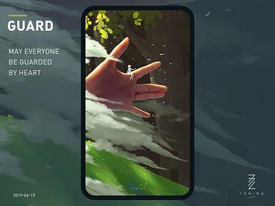 guard guard hand green tree illustration art