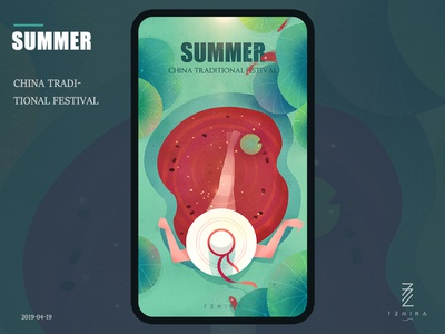 summer sunbathing swimming pool watermelon lotus leaf ui festival green flat illustration summer