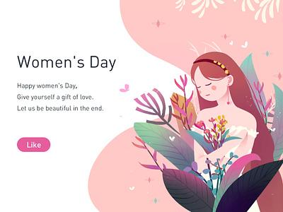 Women's Day flat web pink illustration womens day