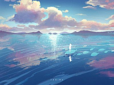 Dream sea sky cloud blue dream illustration