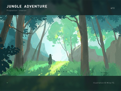 Jungle adventure adventure jungle scenery green tree illustration